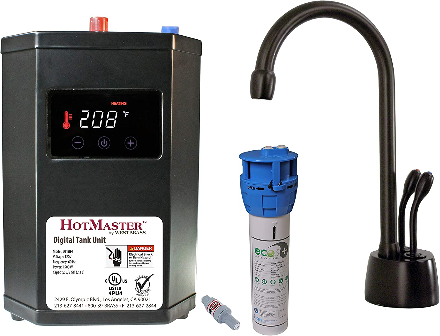 Westbrass DT1F272-12 Develosah 9 in. Instant Hot and Cold Water Dispenser Faucet with HotMaster DigiHot Digital Tank System, Oil Rubbed Bronze