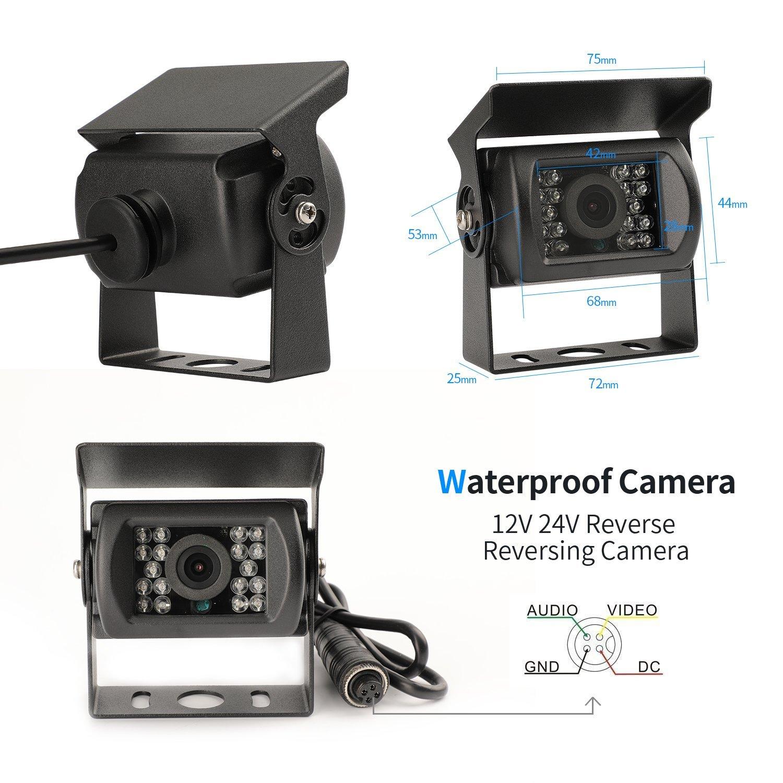 micarba Auto Kamera 140/Grad Night Parking HD Farb R/ückfahrkamera mit Wasserdichte IR-LEDs f/ür Truck Trailer /…