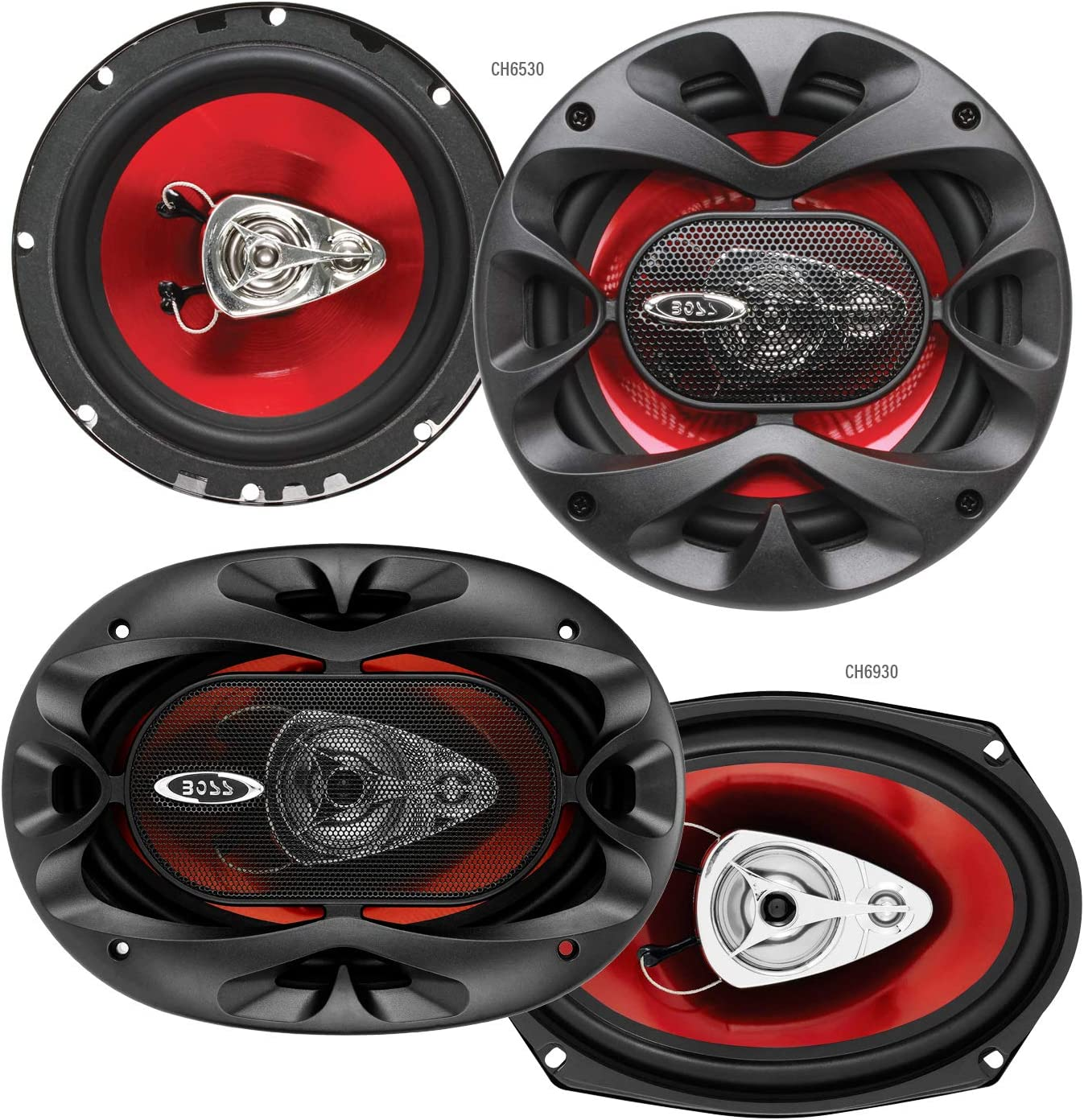 BOSS Audio Systems CH6530 Car Speakers - 300 Watts of Power Per Pair and 150 Watts Each, 6.5 Inch, Full Range, 3 Way, Sold in Pairs + CH6930 Car Speakers - 400 Watts of Power Per Pair, 200 Watts Each,