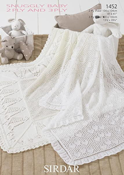 Sirdar Baby 2 Ply And 3 Ply Shawls Knitting Pattern 1452 By Sirdar