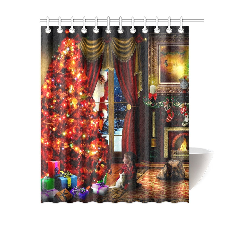 Christmas valances - Amazon Com Moslion Custom Christmas Eve Shower Curtain 60 X 72 Home Kitchen