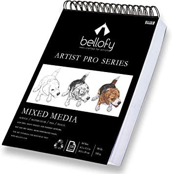 Bellofy 100 Sheet Sketchpad Artist Pro Watercolor Acrylic Art Pad For Sketching Ink Sketch Book Coloring Notebook 98 Ib 160 G M2 9 X 12 In