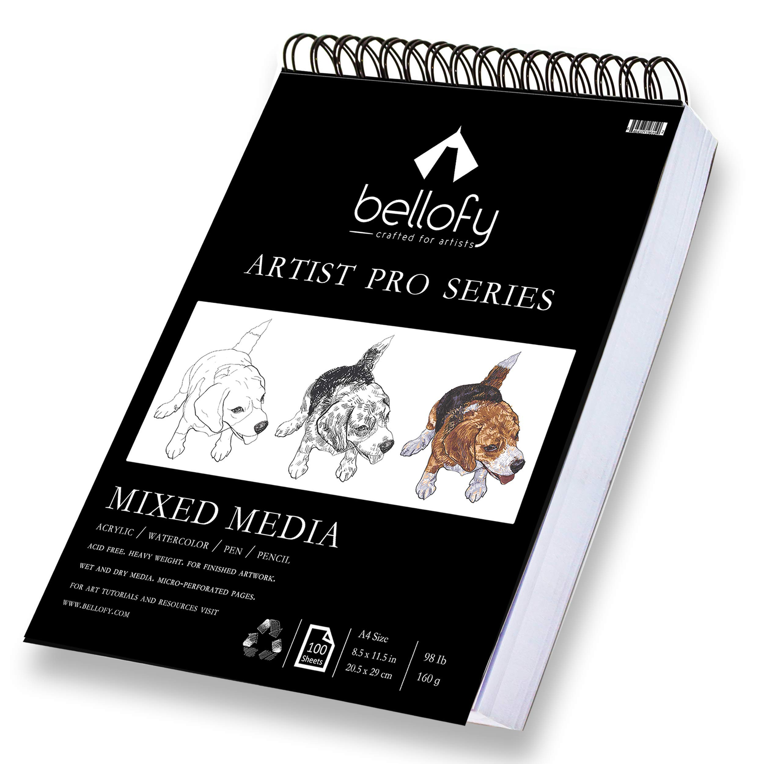 Bellofy 100-Sheet Sketchpad Artist Pro, Watercolor, Acrylic Art Pad for Sketching, Ink Sketch Book, Coloring Notebook - 98 Ib/160 g/m2-9 x 12 in Multi-Media Spiral Notebook, Drawing Paper, Drawing Pad by Bellofy
