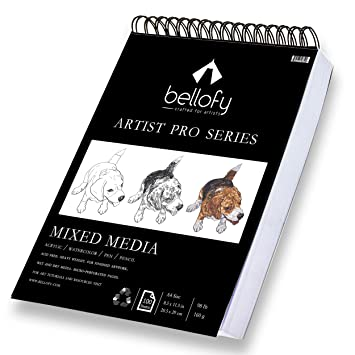 Bellofy 100-Sheet Sketchpad Artist Pro, Watercolor, Acrylic Art Pad for  Sketching, Ink Sketch Book, Coloring Notebook - 98 Ib/160 g/m2-9 x 12 in