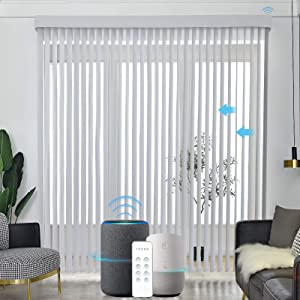 Graywind Motorized Vertical Blinds Compatible with Alexa Google Privacy Reversible Blackout Smart Vertical Blind Remote Control Track Slats Set for Home Office (White)