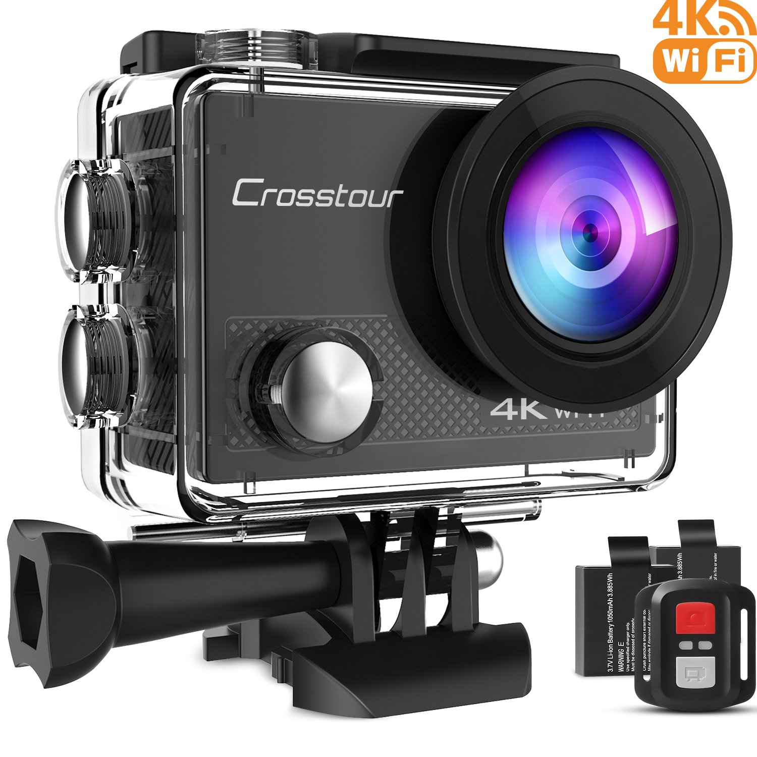 Crosstour Action Camera 4K WIFI Underwater Cam 16MP Sports Camera with Remote Control 170°Wide-angle 2 Inch LCD Plus 2 Rechargeable 1050mAh Batteries and Mounting Accessories Kit by Crosstour