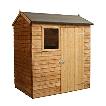 Ordinaire 6x4 Wooden Overlap Garden Storage Shed, Windows, Single Door, Solid Sheet  Board Floor