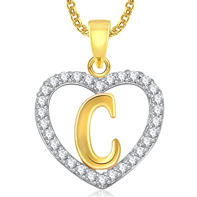 Buy Meenaz Gold Plated C Letter Heart Alphabet Pendant With Chain