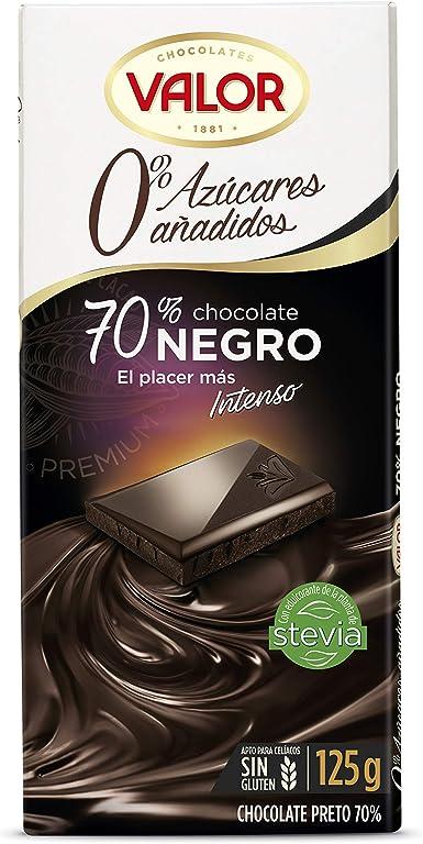 Chocolates Valor - Chocolate Negro 70% - 125 g - , Pack de 6 ...