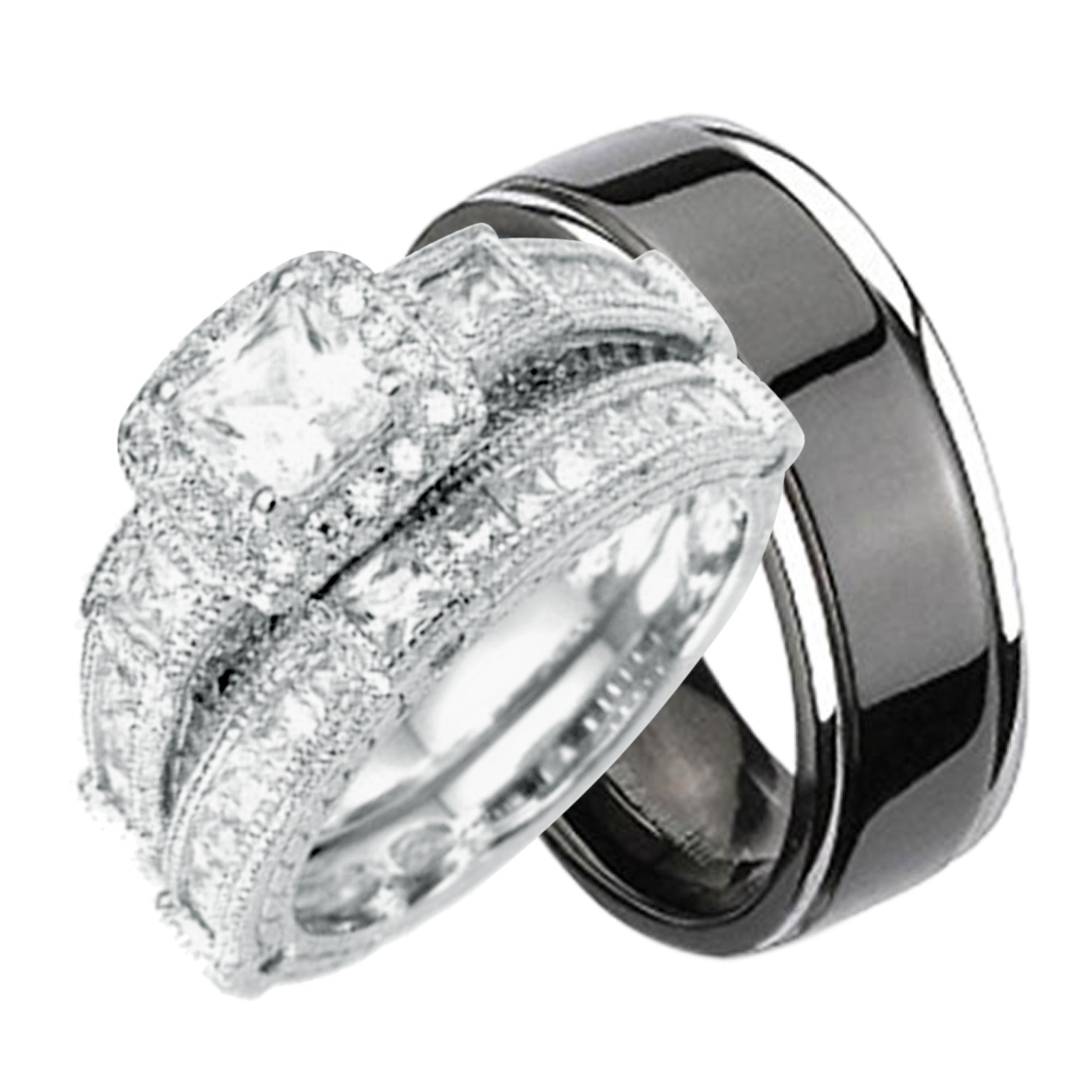 His and Hers Wedding Ring Set Matching Wedding Bands for Him and Her (6/10)