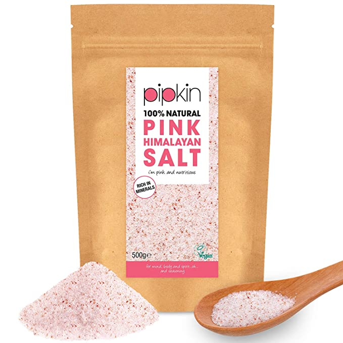 Pipkin 500 g Sal Rosa del Himalaya Natural, Tamaño 0.3-1mm, Alimento Gourmet