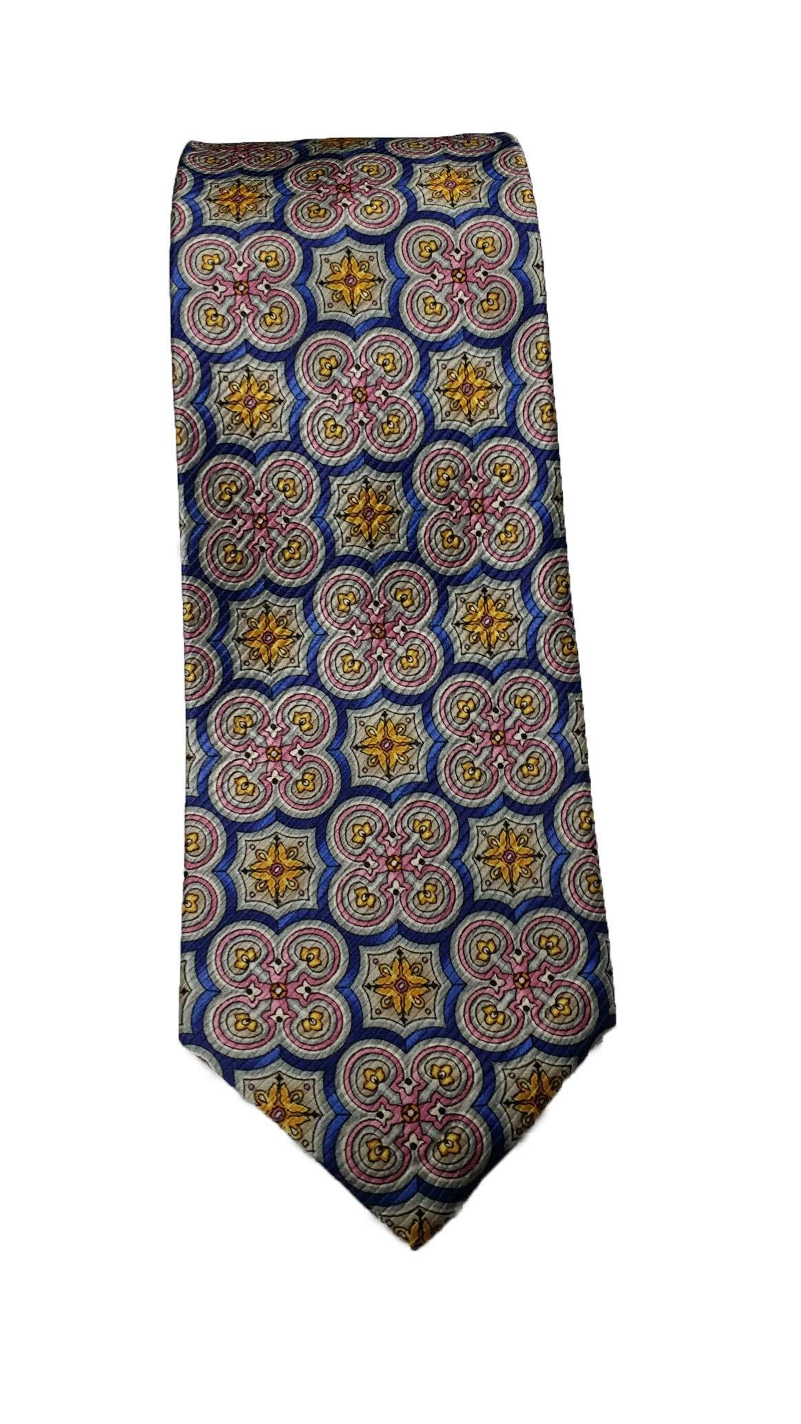 Robert Talbott Blue and Pink Medallion Heritage Seven Fold Tie