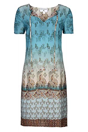 RICK CARDONA by Heine Kleid Damen Knielang Druckkleid Sommerkleid Casual  Blau  Amazon.de  Bekleidung 5b9798ab6e