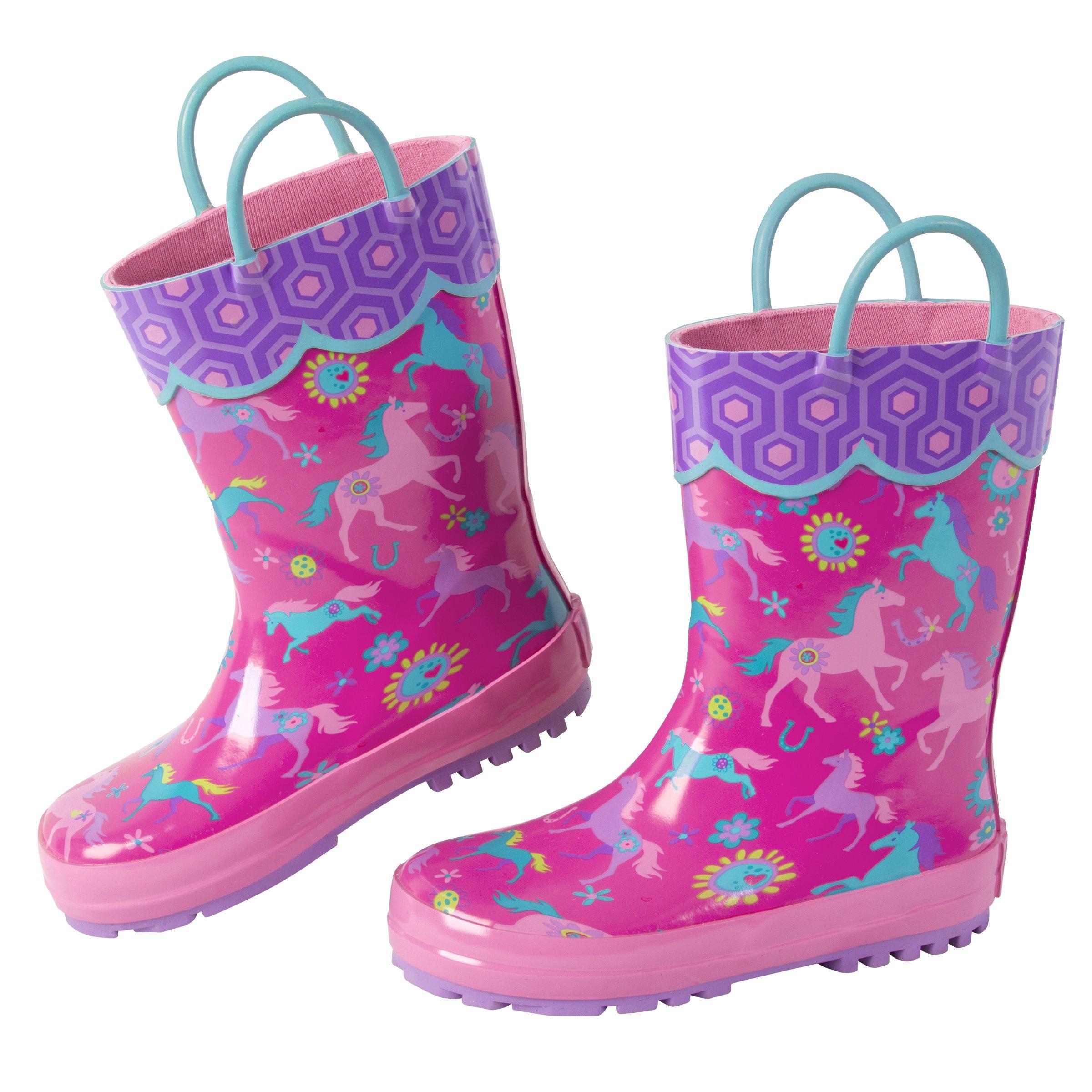 Stephen Joseph Toddler Girls' Rainboots, Girl Horse, 12