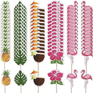 Yaomiao 96 Pieces Tropical Hawaiian Cupcake Toppers Luau Summer Flamingo Pineapple Hibiscus Flowers Tropical Palm Leaves Cupcake Toppers Picks Party Supplies