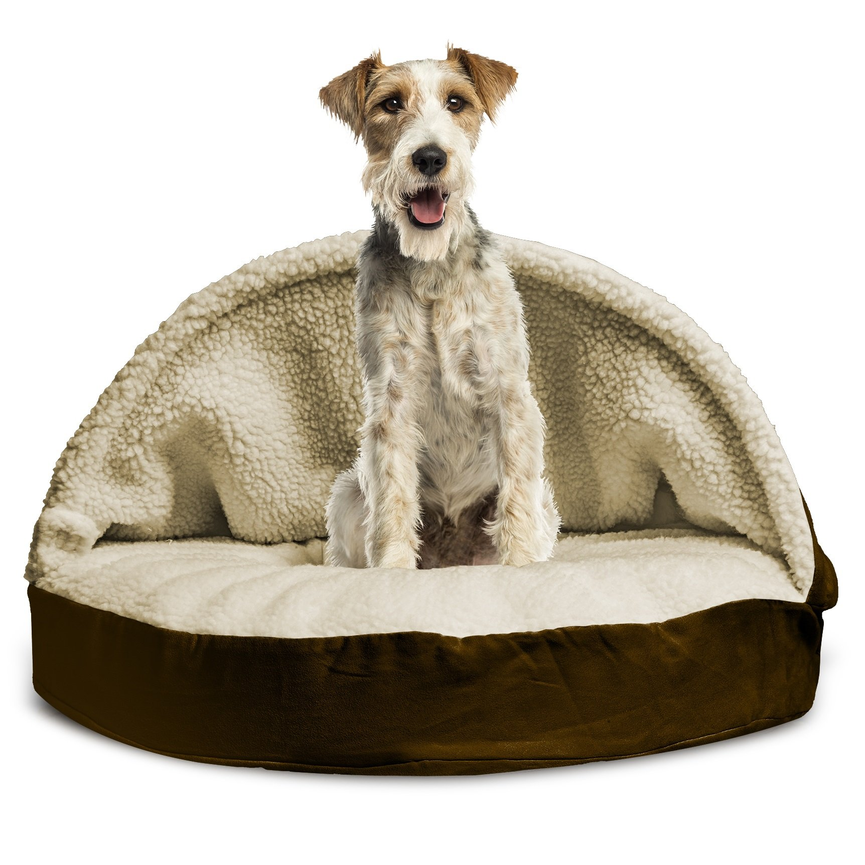Furhaven Pet Dog Bed | Memory Foam Round Faux Sheepskin Snuggery Burrow Pet Bed for Dogs & Cats, Espresso, 35-Inch