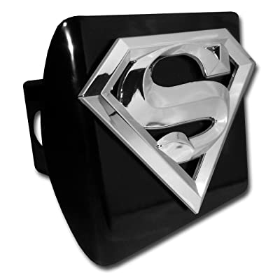 Elektroplate Superman Chrome and Black All Metal Hitch Cover: Automotive