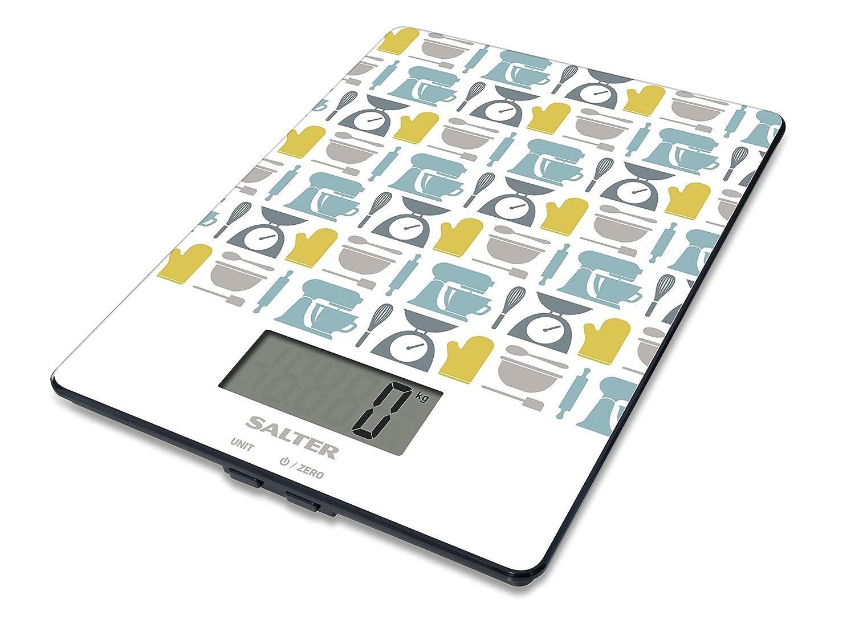 Balances de cuisine numériques Salter Utensils - Balance électronique aliments pour la cuisson, Design moderne, facile à nettoyer, cadeau parfait pour les chefs cuisiniers, garantie de 15 ans - Gris