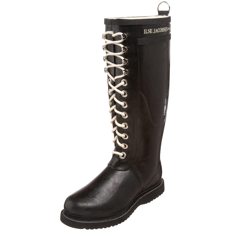 Ilse Jacobsen Damen Gummistiefel   Schuhe aus 100% Natur Bio Gummi   garantiert PVC frei   Lange Stiefel mit Schnürsenkel aus 100% Baumwolle   RUB1 Schwarz 40 EU