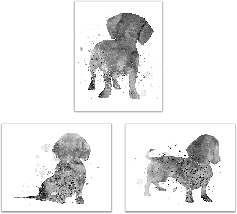 Summit Designs Dachshund Wall Art Decor - Set of 3 Prints (8x10) - Poster Photos - Puppy Dog Watercolor