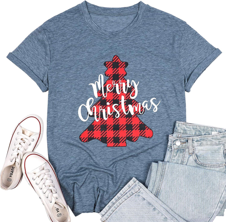 Merry Christmas Shirts for Women Xmas Buffalo Plaid Tree Shirt Top Short Sleeve Casual Graphic Print T Shirt