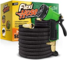 "Flexi Hose Upgraded Expandable Garden Hose, Extra Strength, 3/4"" Solid Brass Fittings - The Ultimate No-Kink Flexible..."
