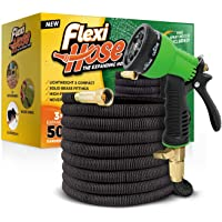 """Flexi Hose Upgraded Expandable Garden Hose, Extra Strength, 3/4"""" Solid Brass Fittings - The Ultimate No-Kink Flexible Water Hose, 8 Function Sprayer Included"""