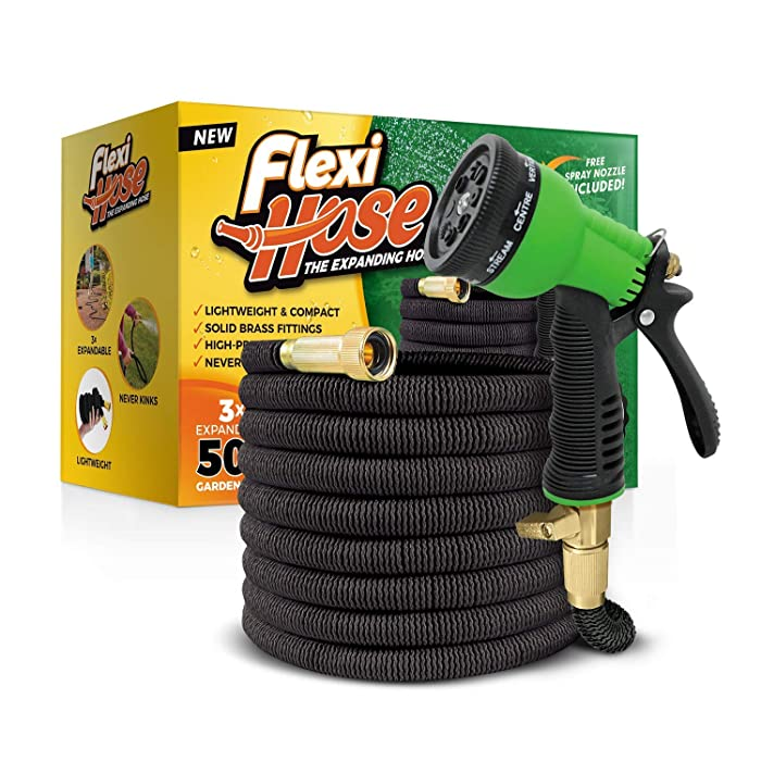 "Flexi Hose Upgraded Expandable Garden Hose, Extra Strength, 3/4"" Solid Brass Fittings - The Ultimate No-Kink Flexible Water Hose, 8 Function Spray Included (Black)"