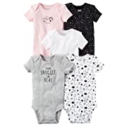 Carter's Baby Girls 5 Pack Bodysuit Set, Snuggle, 3 Months