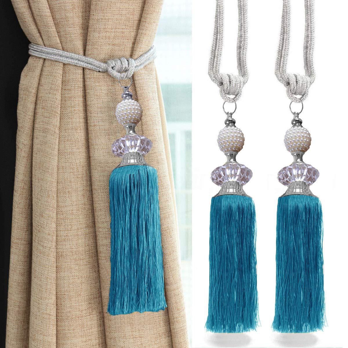Army Green goowrom Crystal Beaded Curtain Tie Back 2pcs Tassel Tie Backs for Curtain Beautiful Curtain Holdback Rope