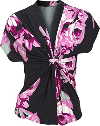 340d853a60 Ladies Black Pink Floral Kimono Faux Wrap Floral Stretch Fit Top (16)   Amazon.co.uk  Clothing