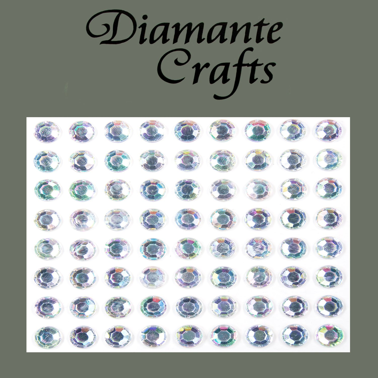 72 x 7mm Clear Iridescent AB Diamante Self Adhesive Rhinestone Body Vajazzle Gems - created exclusively for Diamante Crafts