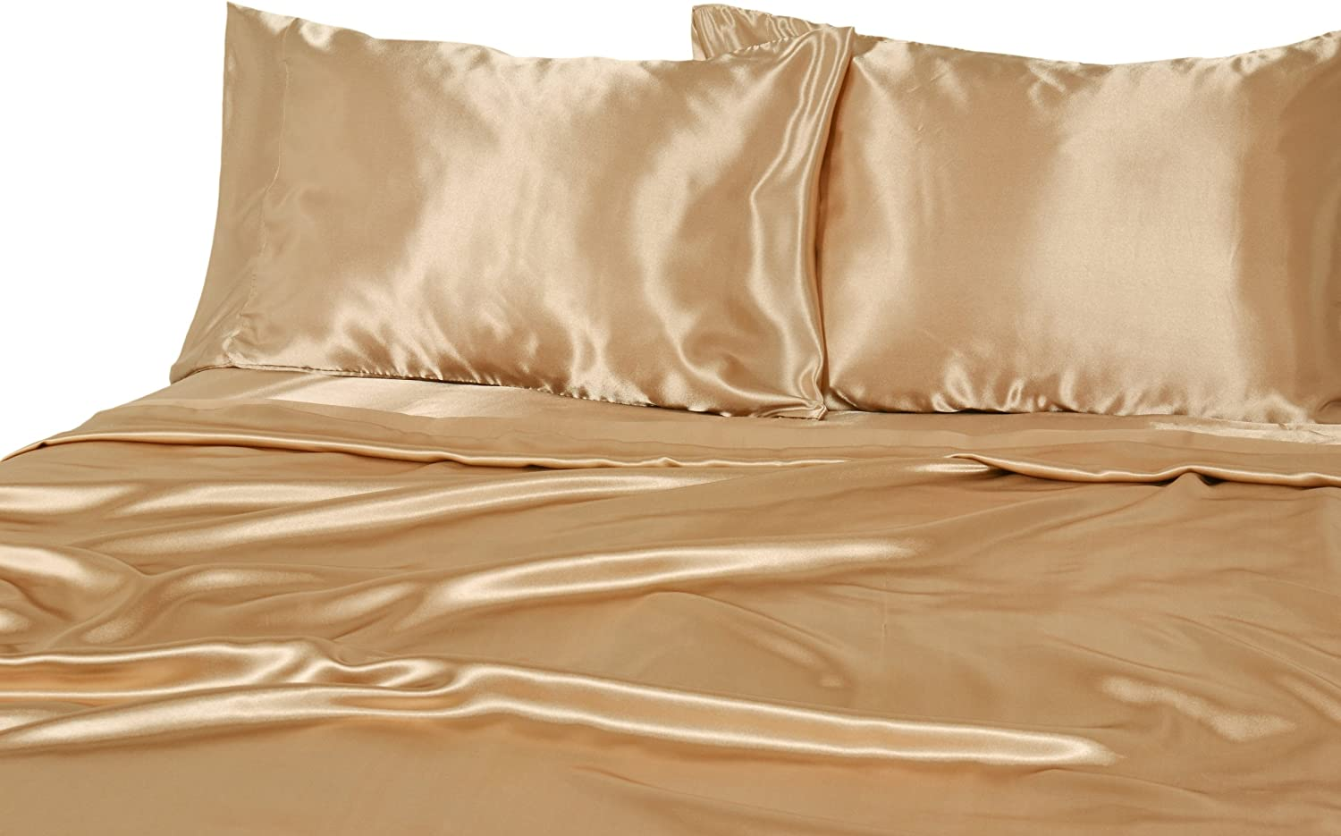 Elite Home Products 100% Luxury Satin Polyester Solid Sheet Set, King, Gold
