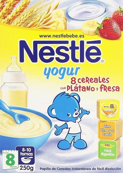 Nestlé Papillas 8 Cereales con yogur, Plátano y Fresa - 250 gr