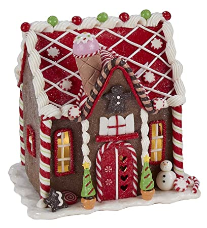 kensington row christmas collection christmas decorations led lighted gingerbread house decorated with candy and ice - Gingerbread House Christmas Decorations