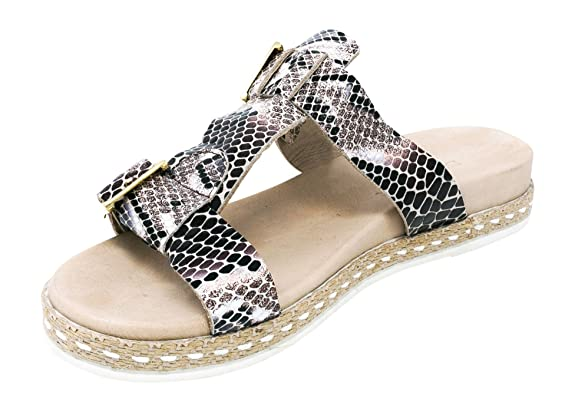 BOBERCK Isla Collection Women's Leather Slides Sandals Espadrille (6 US, Silver)