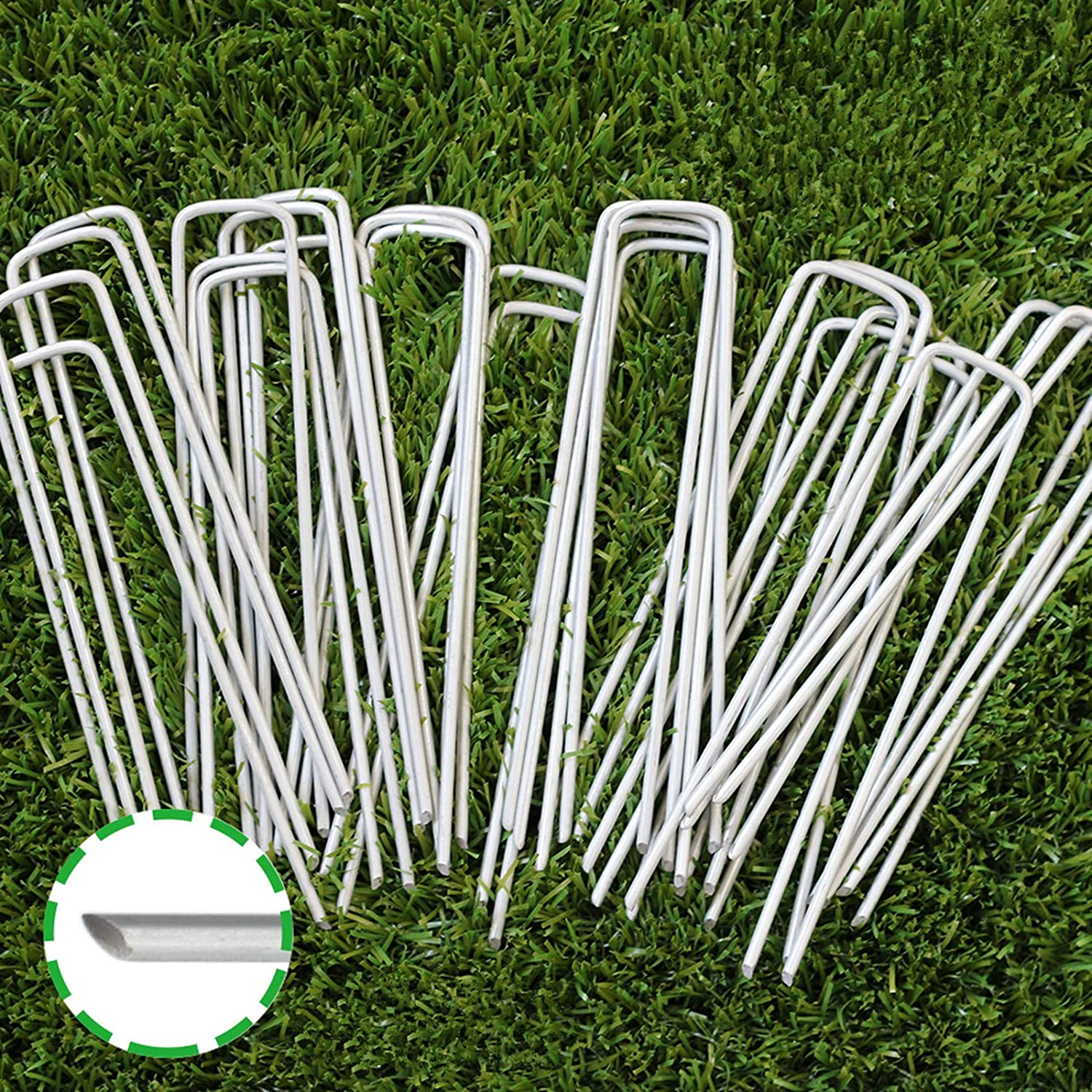 6 Inch Garden Stakes Galvanized Landscape Staples, U-Type Turf Staples for Artificial Grass, Rust Proof Sod Pins Stakes for Securing Fences Weed Barrier, Outdoor Wires Cords Tents Tarps, 100 Pcs