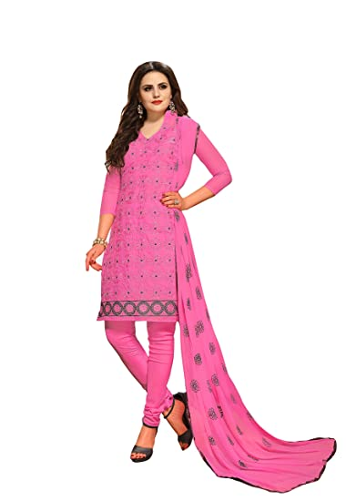 aba7e9bcf5bd Oomph! Cotton Embroidered Salwar Suit Dupatta Dress Material - Baby Pink:  Amazon.in: Clothing & Accessories