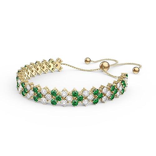 più economico f78c2 e971f Eternity a tre file con smeraldi e diamanti CZ bracciale ...