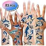 Shark Tattoos(83PCS),Konsait Ocean Sea Themed Shark Temporary Tattoo Body Stickers Costume Accessories for Baby Boy Girl…