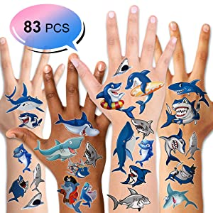 Shark Tattoos(83PCS),Konsait Ocean Sea Themed Shark Temporary Tattoo Body Stickers Costume Accessories for Baby Boy Girl Birthday Party Favor Supplies Decor Goodie Party Bag Fillers