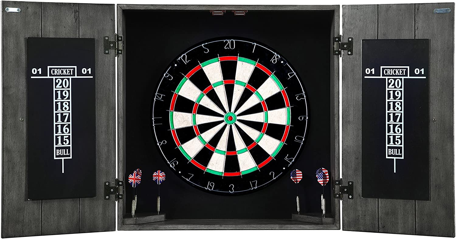 Hathaway Drifter Solid Wood Dartboard Cabinet - Reclaimed Pine with Distressed Timberwood Finish, Sisal Fiber for Steel Tip Darts : Sports & Outdoors