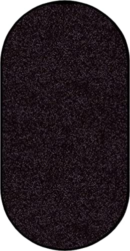 Koeckritz 9 X12 Oval Area Rug Carpet. Licorice Rope Black 30 oz. Thick. 100 Polyester Fiber, Medium Density, Soft and Durable. Multiple Sizes, Shapes and Brilliant Colors.