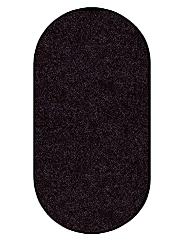 Koeckritz 6 X9 Oval Area Rug Carpet. Licorice Rope Black 30 oz. Thick. 100 Polyester Fiber, Medium Density, Soft and Durable. Multiple Sizes, Shapes and Brilliant Colors.