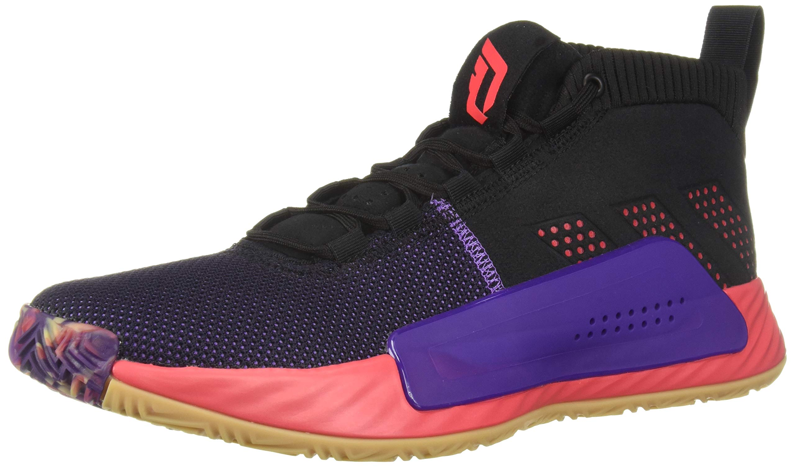 adidas Men's Dame 5, Black/Shock red/Active Purple, 6.5 M US