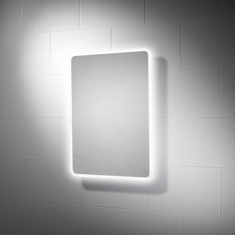 390 x 500 mm Globe Slimline LED Illuminated Bathroom Mirror with Demister /& Motion Sensor Switch Pebble Grey