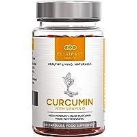 Elixirvit Curcumine Liquide Avec Vitamine D – 185 X Plus Biodisponible Que le Curcuma/Curcumine Standard – Immédiatement Absorbable – 60 Gélules NovaSOL Curcumine