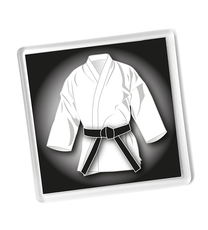 Black Belt WHITE GI gift DRINKS COASTER, Karate, Kickboxing, Judo, Ju Jitsu, grading pass gift, 90mm x 90mm