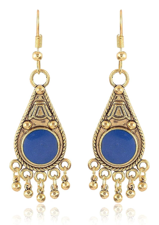 Subharpit Blue Pearl Golden Metal Non Precious Indian Ethnic Tratitional Dangle