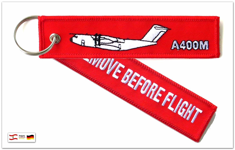 """'Porte-clés """"Remove Before Flight –-Airbus A400M"""" Atlas (A 400m) –-Anneau porte-clés inclus"""